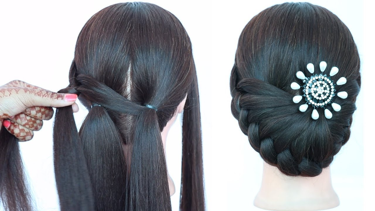 Image result for new latest hairstyle for party, wedding with trick || cute hairstyles || bun hairstyles || hairstyle Khushbu Style