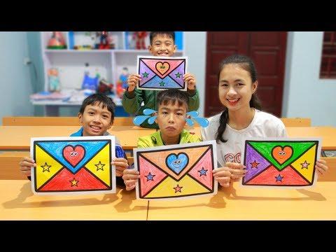 Kids go to School Learn Coloring Envelope Fun Classroom | Nursery Rhymes Songs for Kids