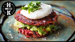 Sweet potato & beetroot rosti with chilli avocado & poached egg - Vegetarian