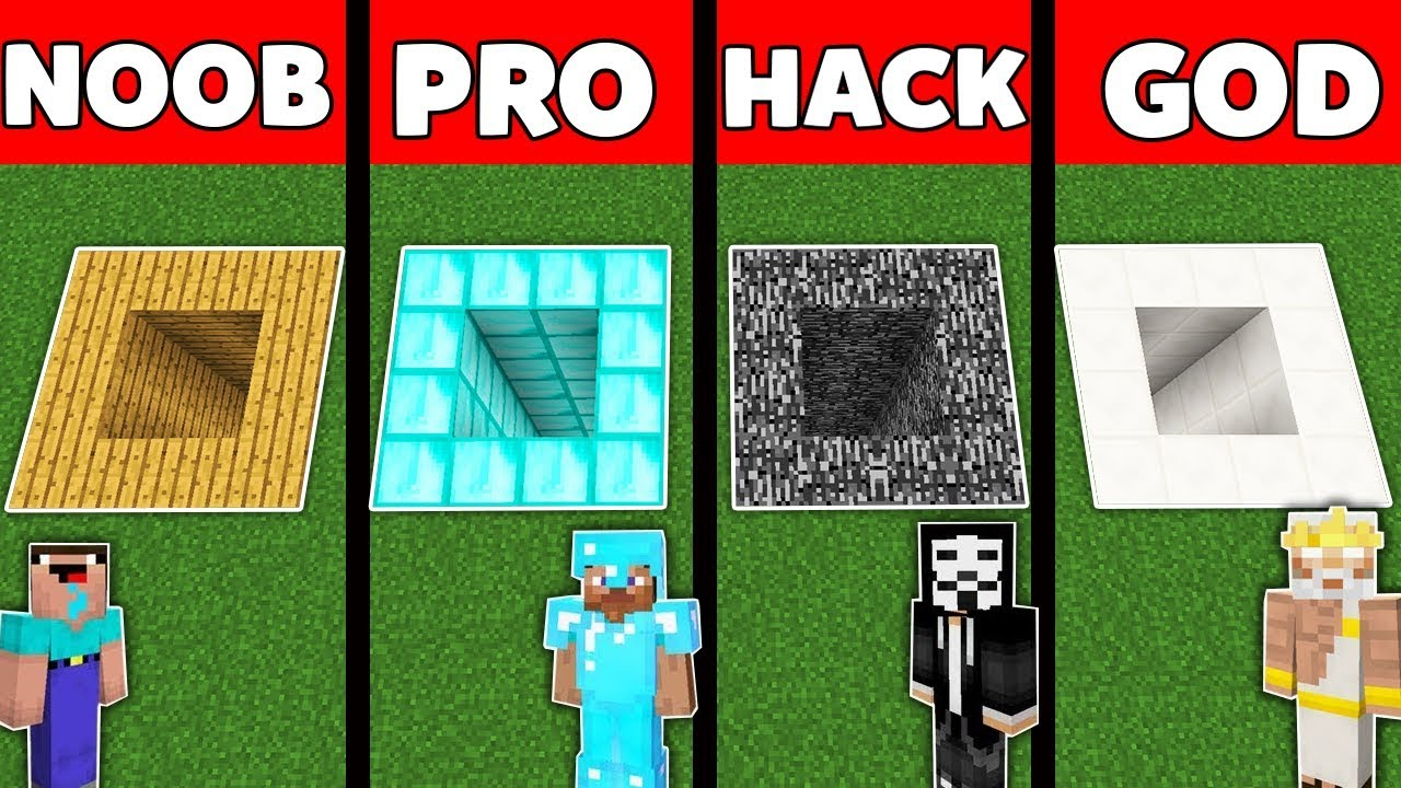 Minecraft Battle: NOOB vs PRO vs HACKER vs GOD : UNDERGROUND TUNNEL Challenge in Minecraft Animation