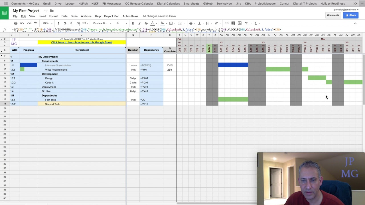 03-Dependencies (JPMG Project Plan Template for Google Sheets). GET THE TEMPLATE AT http://www.jpmueller.com This video will discuss how to make the timing of tasks dependent on other tasks. - Linking to other tasks - Bas.... Youtube video for project managers.
