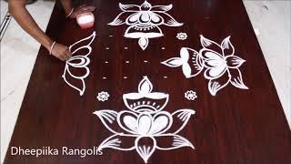 Karthika pournami special lotus deepam rangoli design with 9x3x3 dots * easy rangoli
