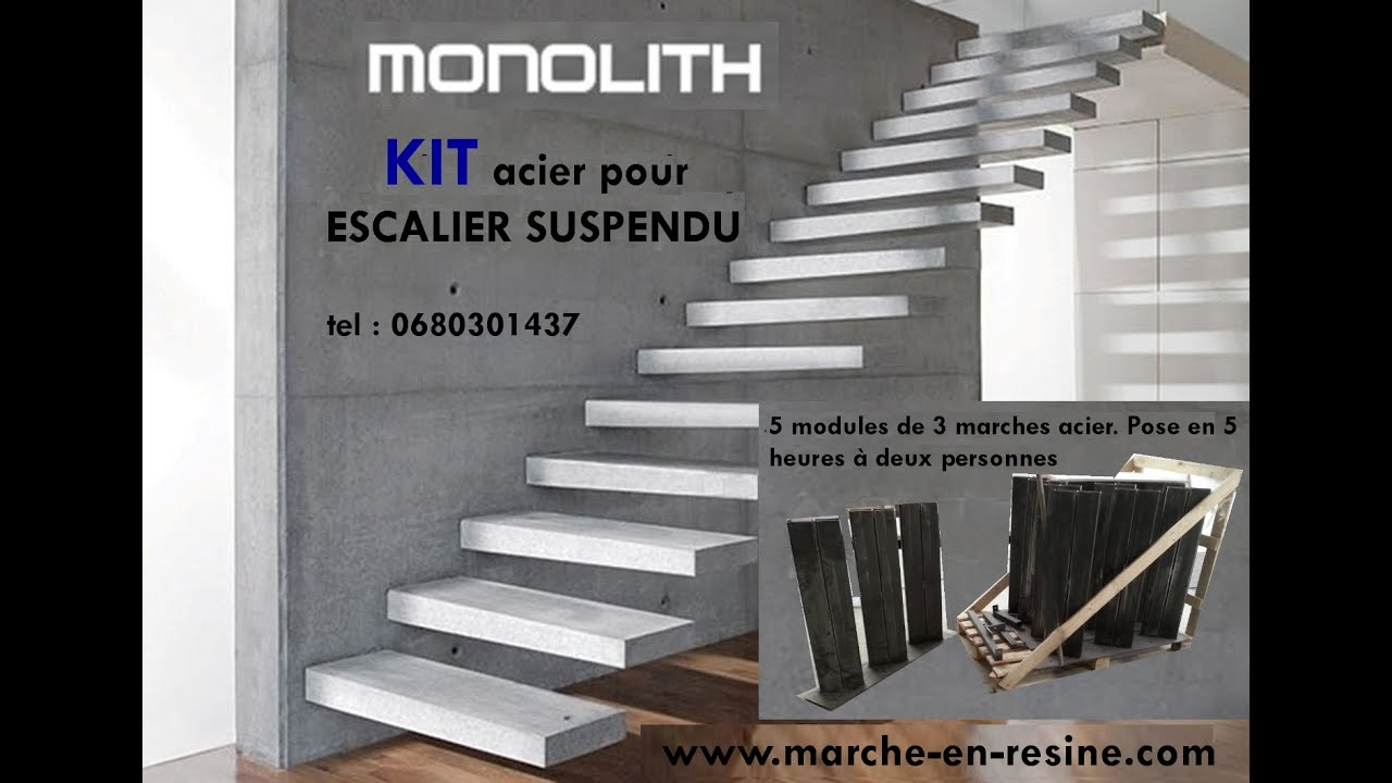 floating stair kit escalier suspendu en kit youtube. Black Bedroom Furniture Sets. Home Design Ideas