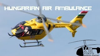 Air Ambulance helicopter landing - Eurocopter EC-135 at Pécs hospital