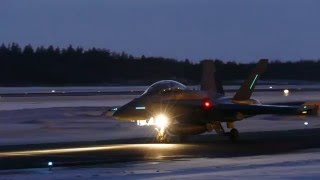 Finnish Air Force Hornets departing at Oulu EFOU