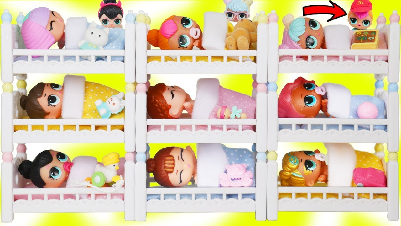 LOL Surprise Dolls + Lil Sisters Mix Wrong Bunk Beds and Stroller Pets in Vending Machine