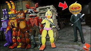 The Funny Animatronics Find Evil Pumpkin Head Hiding! (GTA 5 Mods FNAF RedHatter)