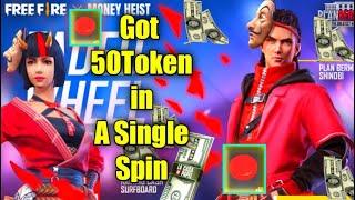 50 TOKEN IN ONE SPIN    FREEFIRE MONEYHEIST EVENT