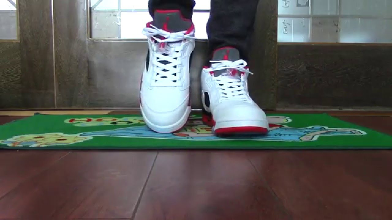 85fb706f7d9d1e Authentic Air Jordan 5 Low Fire Red on foot - YouTube ...