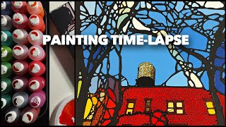"Painting Process Of ""red Ochre"" Acrylic On Wood Panel Time-lapse Video Of Painting By Denitza"