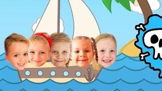 Nastya und Freunde spielen Piratenspiele und finden Schätze + Nastya und Papa und eine lustige Sonne
