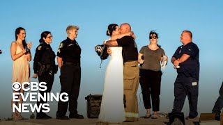 Firefighter and police officer don't let Hurricane Michael ruin their wedding day
