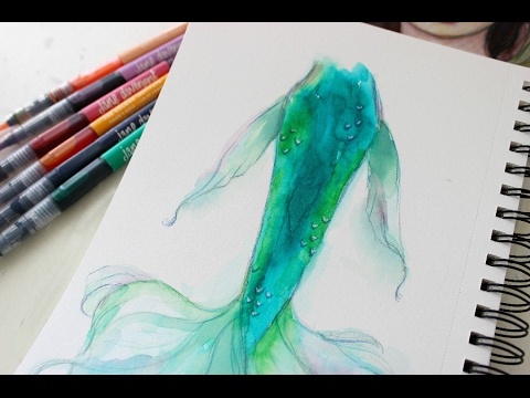 watercolor mermaid tail tutorial with mermaid markers