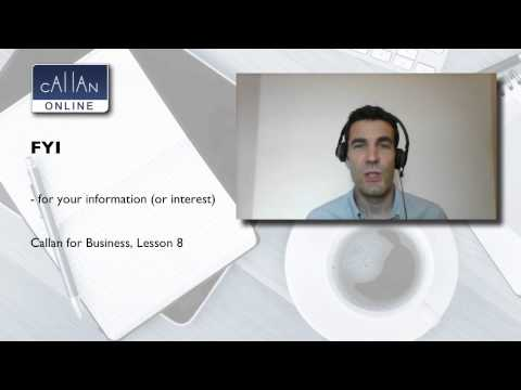 FYI - Business English with Callan Online