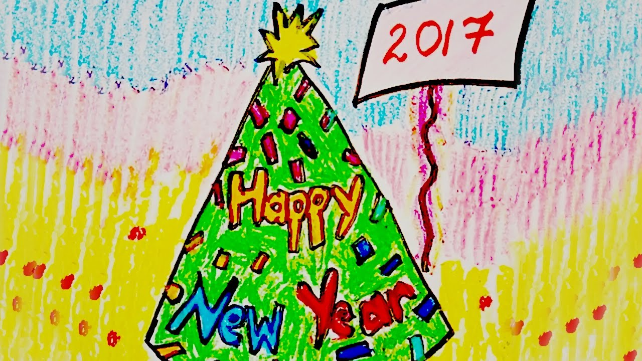 new year greeting card design draw happy new year card how to draw happy new year card youtube
