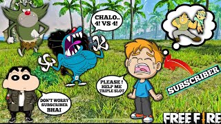 Oggy Shinchan Jack's Subscriber Cry For Help || Challenge Squad VS Squad || Free Fire