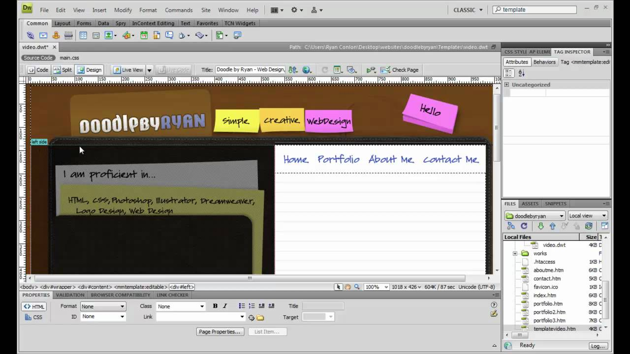 How To Create A Template In Dreamweaver Youtube