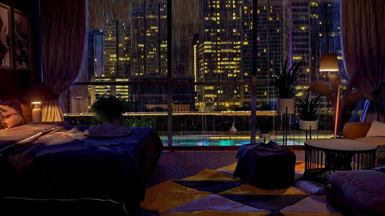Cozy bedroom | Heavy Rain & Thunderstorm Sounds | Rain Sounds | The Rain of A City