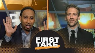 Stephen A. to Max: 'Pump the brakes' on overly praising LeBron James' big dunk | First Take | ESPN