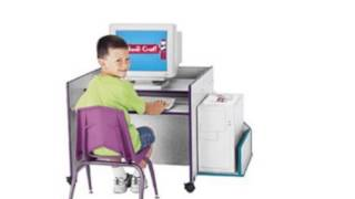 Kydz Computer Desk - Single - Yellow - School And Play Furniture