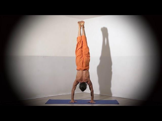 Posture de Yoga : Adho Mukha Vrikshasana 2 / Posture en équilibre sur les mains version 2