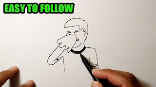 How to draw a person sneezing | PEOPLE DRAWING