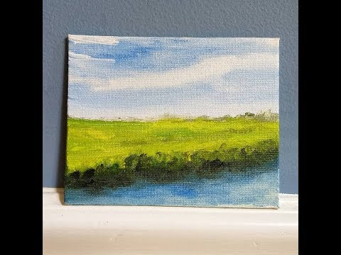 Mini Canvas Challenge – Salt Marsh Canal – Acrylic Landscape Painting Lesson