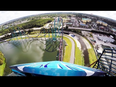 Mako Front Row POV Ride at SeaWorld Orlando, Hyper Roller Coaster 2016, 1080p 60fps