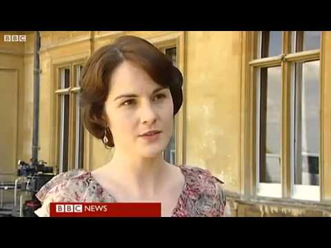 Dan Stevens and Michelle Dockery on BBC Breakfast 14.09.11 1of2