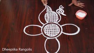 simple peacock rangoli design without dots I birds kolam design I latest freehand muggulu designs