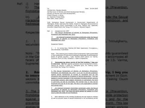 Letter to Hon'ble Smt  Menaka Gandhi, Minister for  Women and Child Development 26 04 2018