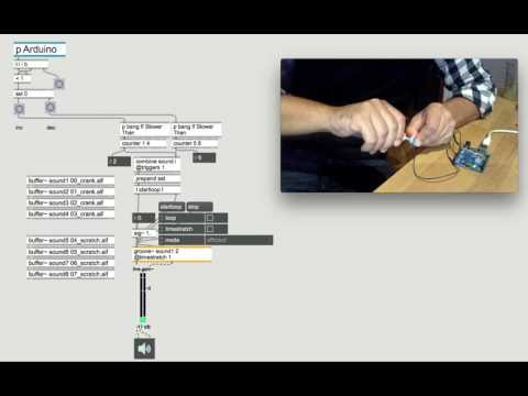 Cycling74 Max-MSP-Arduino doodle 45 arduino/endless encoder/groove~sampler