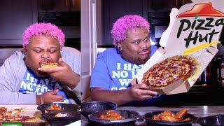 pizza hut s bbq bacon chicken pizza and wings mukbang eating show