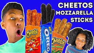 Cheetos CAN&#39T TOUCH THIS Mozzarella Sticks Family Food Challenge!!