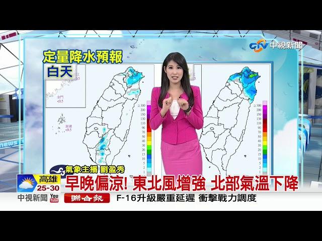 注意!東北風影響 北部東部有短暫雨│中視早安氣象 20191016