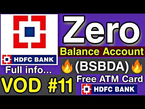 HDFC Bank Zero Balance Account (BSBDA) || HDFC Bank Two Type Zero Balance Account #VOD_11🔥