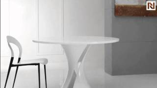 Curl - Modern White Lacquer Round Dining Table Vggu1154dt