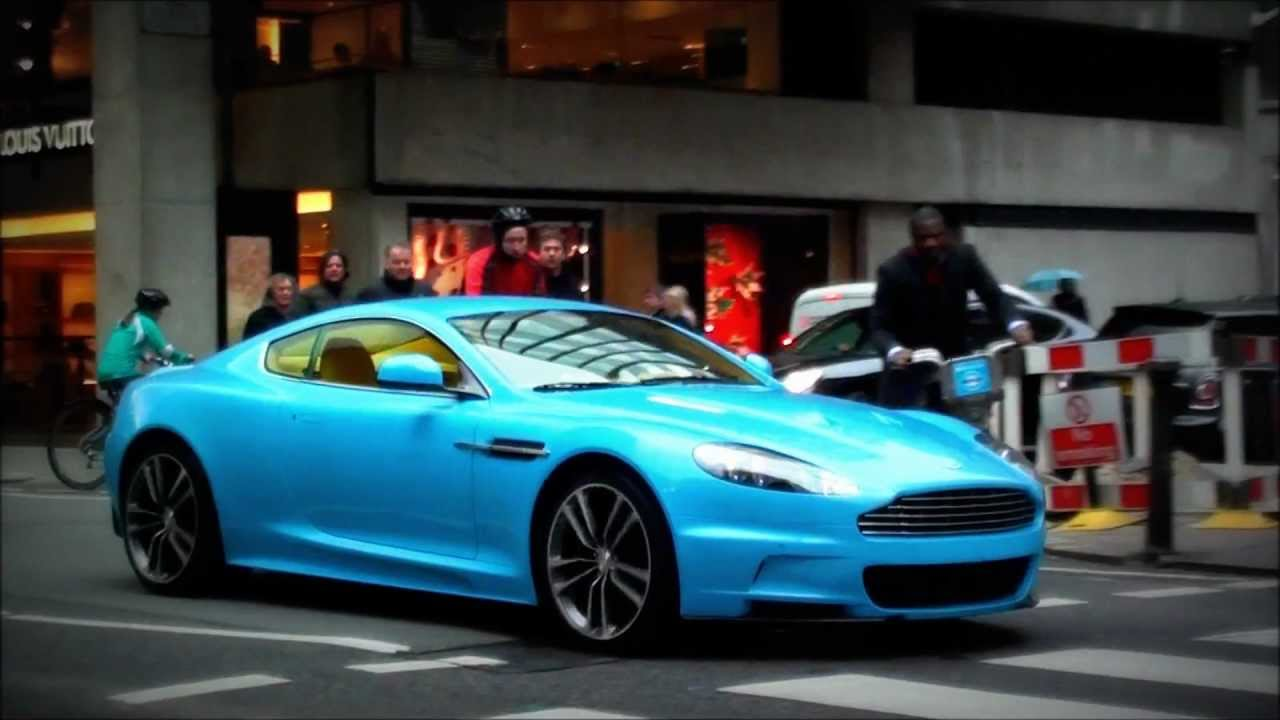 BABY BLUE Arab Aston Martin DBS, Wheelspin and LOUD ...