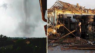 video: Watch: Rare tornado in Czech Republic kills three and leaves trail of destruction