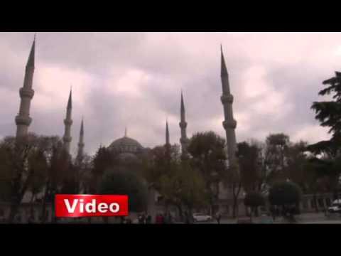 İstanbul Sultanahmet Camii'nin minaresi kaydı