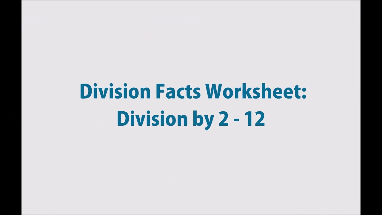 Math Facts Worksheet Generator - Multiplication and Division - YouTube