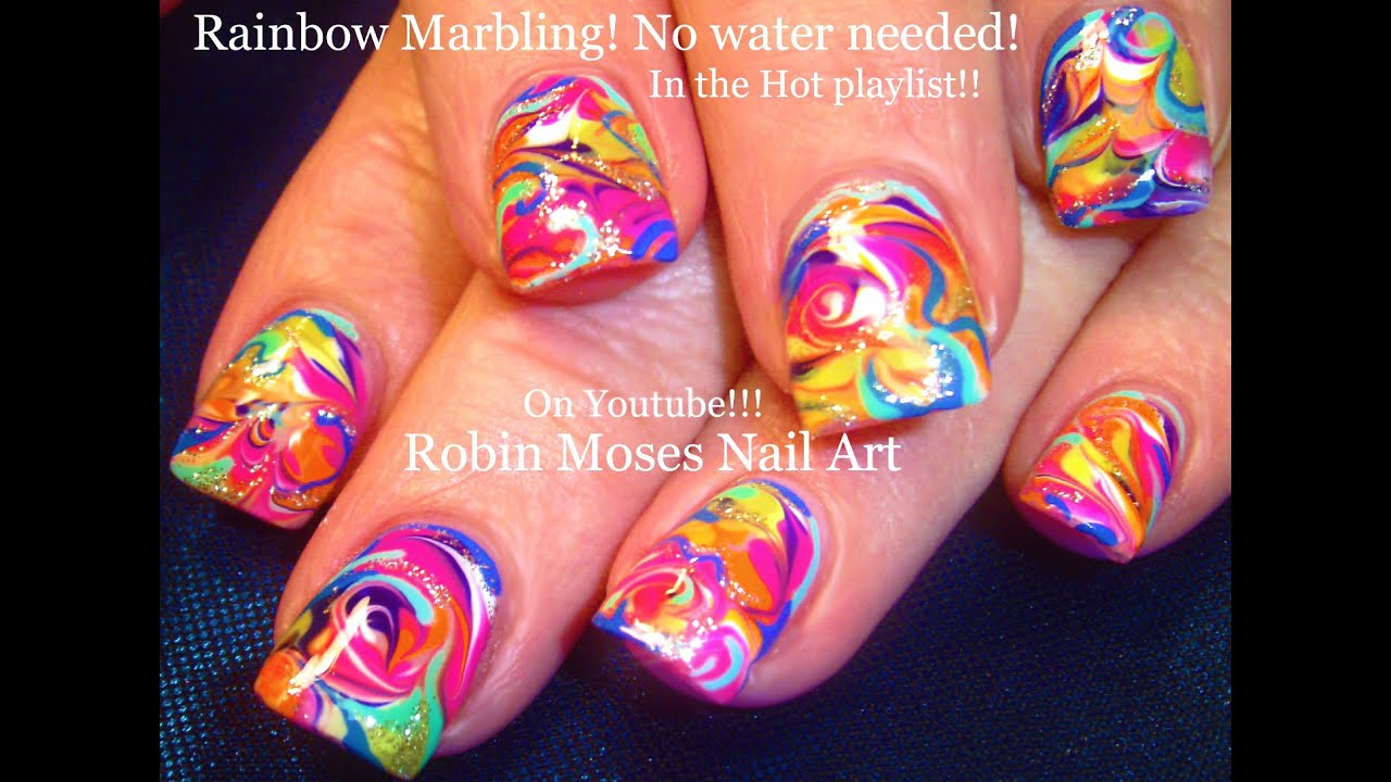 No Water Needed - Spring Rainbow Marble Nail Art Tutorial - YouTube