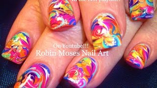 Nail Art! Rainbow Marble Nails - No Water Needed! Design Tutorial
