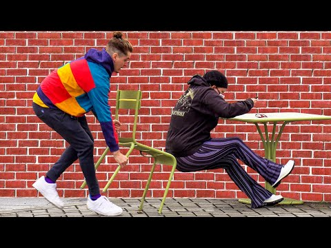 Double Chair Pulling Prank
