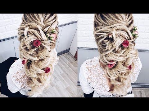 Свадебная прическа на длинные волосы видеоурок
