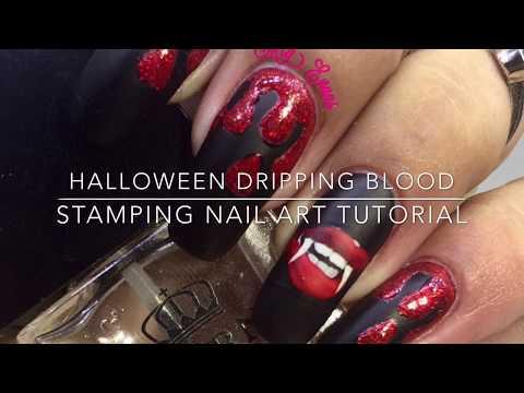 Halloween Dripping Blood Stamping Nail Art Tutorial