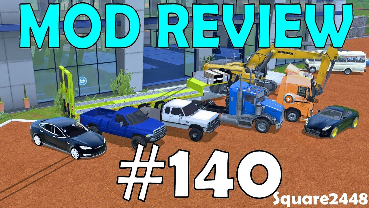 Farming Simulator 17 Mod Review #140 Jaguar, Tesla, Dodge Trucks, Kenworth, Volvo Semi & Excavat