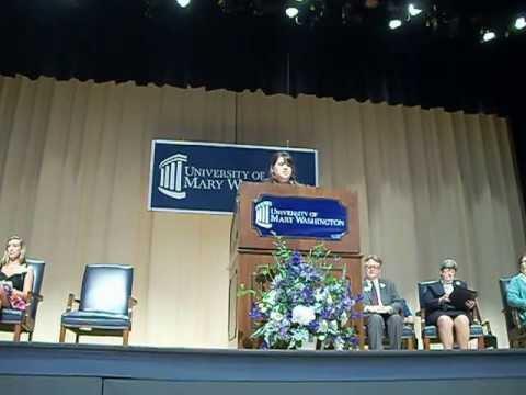 UMW Class of 2013: Featuring Amanda Leigh Buckner Convocation Welcome Speech