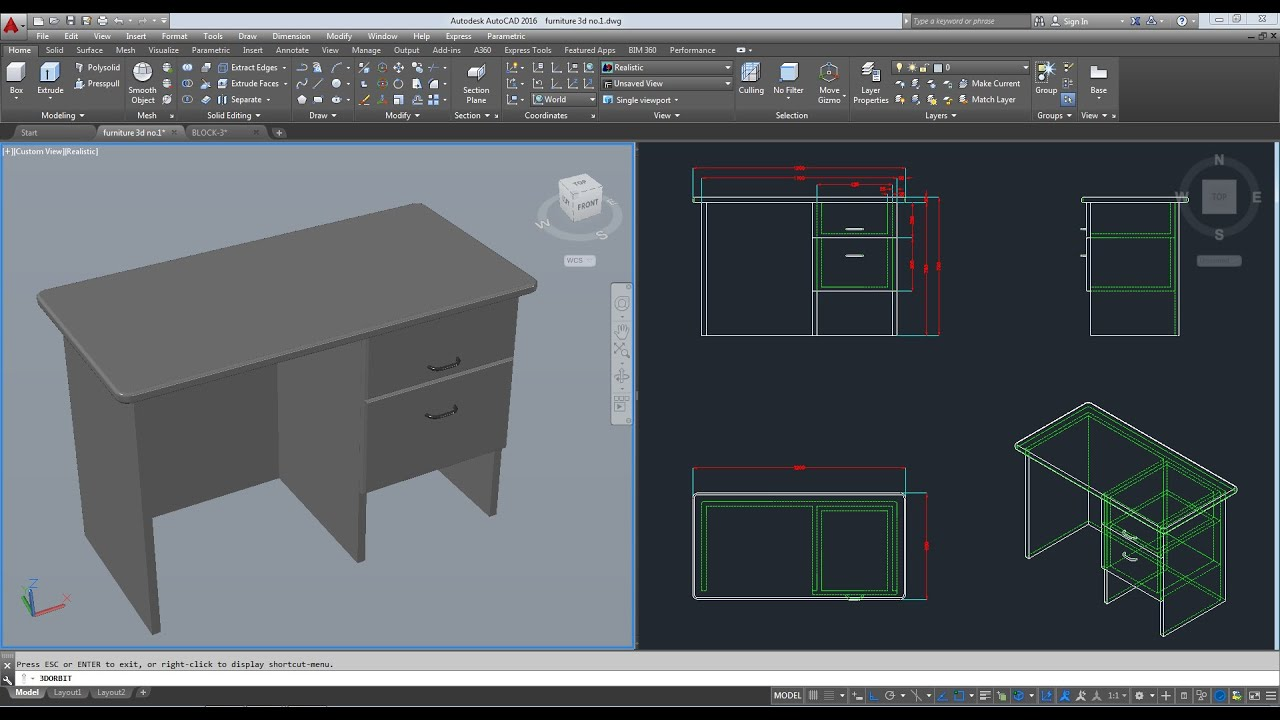 Furniture 3d autocad 2016 youtube for Furniture drawing software