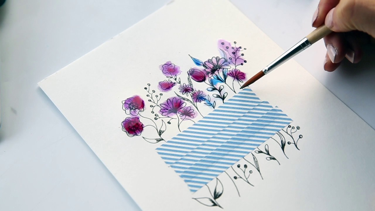 Line Drawing Flower Images : How to mix botanical line drawing watercolors speed